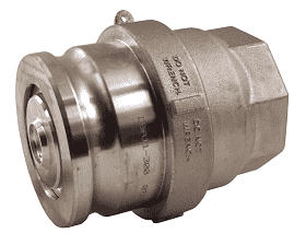 "DBA63-150 Dixon Aluminum Dry Break Cam and Groove Dry Disconnect 2"" Adapter x 1-1/2"" Female NPT with PTFE Encapsulated Silicone Seal"