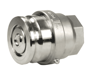 DBA77-300 Dixon Stainless Steel Dry Break Cam and Groove Dry Disconnect 4 in Adapter x 3 in Female NPT with PTFE Encapsulated Viton Seal