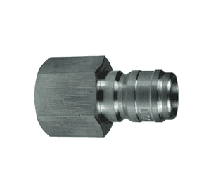 "E4F4-S Dixon 303 Stainless Steel E-Series Quick Disconnect 1/2"" Straight-Through Interchange Hydraulic Nipple - 1/2""-14 Female NPTF"