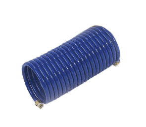 "H4AS3-25 Nycoil Heavy Duty Nylon Self-Storing Air Hose Assembly - 1/4"" Hose ID - 1/4"" MPT Swivel - Blue - 350 PSI - 25ft"