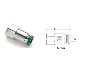"H6644 Nycoil Nickel Plated Brass Push-to-Connect Fitting - Female Connector - 1/4"" Female NPT x 1/4"" Tube Size - Pack of 10"