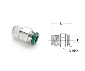 "H6841 Nycoil Nickel Plated Brass Push-to-Connect Fitting - Male Connector - 1/16"" Male NPT x 1/4"" Tube Size - Pack of 10"