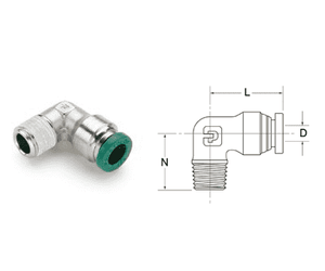"H6988 Nycoil Nickel Plated Brass Push-to-Connect Fitting - 90 deg. Elbow - 1/2"" Male NPTF x 1/2"" Tube Size - Pack of 5"