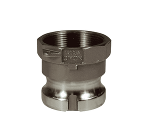 "L150-A-SS Dixon 1-1/2"" 316 Stainless Steel Vent-Lock Type A Cam and Groove Coupling - Adapter x Female NPT"