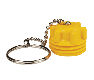 "ME180-1 Dixon Yellow Plastic Acme Dust Plug - 2-1/4"" Male Acme Dust Seal w/Chain Assembly"