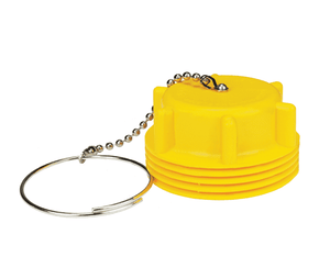 "ME181-1 Dixon Yellow Plastic Acme Dust Plug - 3-1/4"" Male Acme Dust Seal w/Chain Assembly"