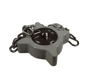 "ME441FS-1 Dixon Metal Acme Cap - 3-1/4"" Female Acme Cap with Knob Plug, Ring and Chain (Steel)"