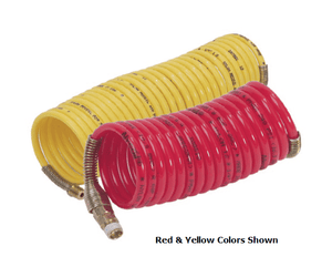 "N3AS2-25 Nycoil Nylon Self-Storing Air Hose Assembly - 3/16"" Hose ID - 1/4"" MPT Swivel - Red - 285 PSI - 25ft"