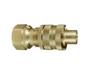 "N4F6-B-LS Dixon Brass Quick Disconnect 1/2"" N-Series Bowes Interchange Safety-Lock Pneumatic Nipple - 3/4""-14 Female NPTF"