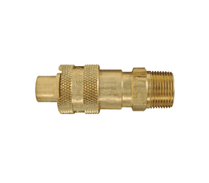 "N4M3-B Dixon Brass N-Series Quick Disconnect 1/2"" Bowes Interchange Pneumatic Nipple - 3/8""-18 Male NPTF"