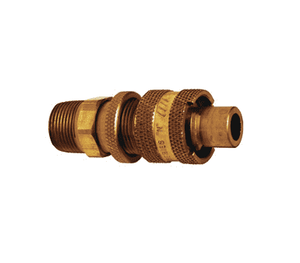 "N4M6-B-LS Dixon Brass N-Series Quick Disconnect 1/2"" Bowes Interchange Safety-Lock Pneumatic Nipple - 3/4""-14 Male NPTF"