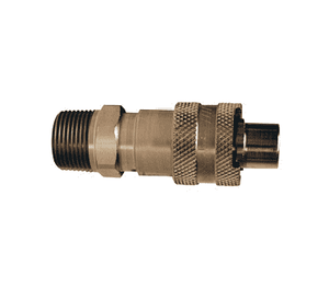 "N4M6-S-LS Dixon 303 Stainless Steel N-Series Quick Disconnect 1/2"" Bowes Interchange Safety-Lock Pneumatic Nipple - 3/4""-14 Male NPTF"