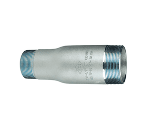 "SW40-400250 Dixon Zinc Plated Schedule 40 Swage Nipple - 4"" Male NPT x 2-1/2"" Male NPT - 9.0"" Length"