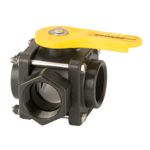 "V200SL Banjo Polypropylene 3-Way Ball Valve - Side Load - 2"" Female NPT - Opening Thru Ball: 2"" - 100 PSI - Straight Handle"