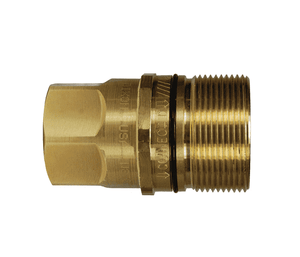 "W6F4-B Dixon Brass W-Series Quick Disconnect 3/4"" Wingstyle Interchange Hydraulic Nipple - 1/2""-14 Female NPTF"