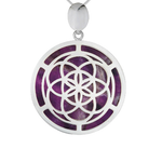 Amethyst & Silver Seed of Life  Pendant