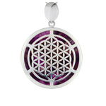 Amethyst & Silver Flower of Life Pendant