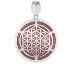 Rose Quartz & Silver Flower of Life  Pendant