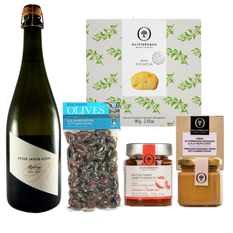Gourmet kit med riesling og snacks