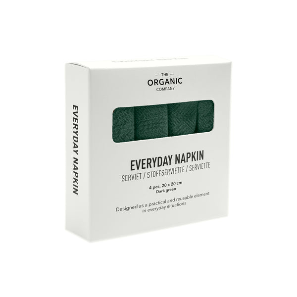 Stofservietter Everyday Napkin 4 pack Dark Green fra The Organic Company, Oliviers & Co