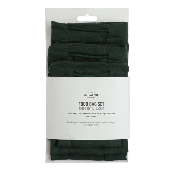 Food Bag Set, 3 stk madposer Dark Green fra The Organic Company, Oliviers & Co