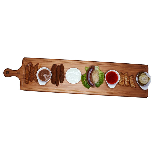 "SET OF 2  LONG SERVING BOARDS WITH HANDLE 34.3"" X 5.9"" 