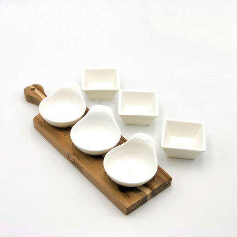 Acacia 3 hole Flight Board with Fine Porcelain round and square appetizer dish set  WL-555042