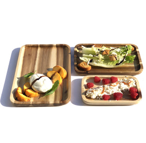 "3 Rectangle Acacia platters party serving set (12"", 10"" and 8"")  WL-555046"