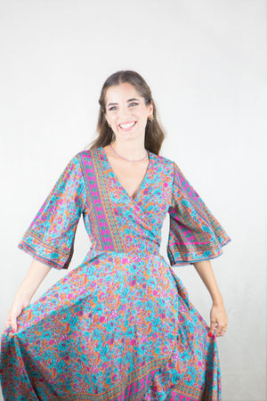 Wrap dress estampado (azul)