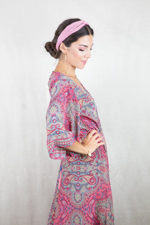 Wrap dress estampado (rosa)