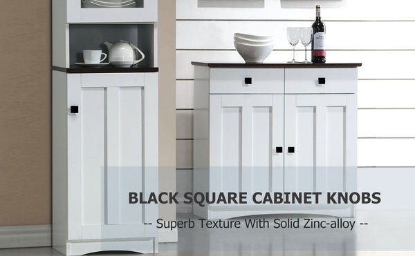 Modern square black kitchen knobs