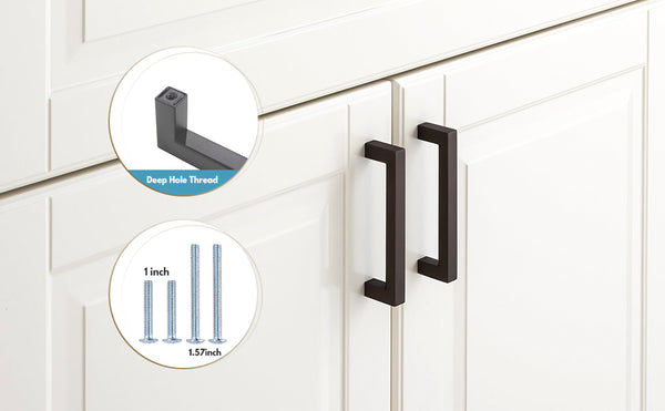 Black square cabinet pulls 4 inch center to center