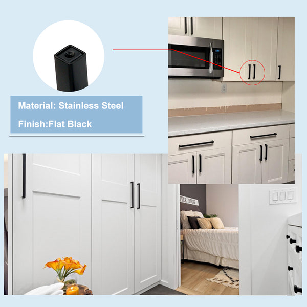 Black Square T Bar Cabinet Pulls 3 inch Hole Centers