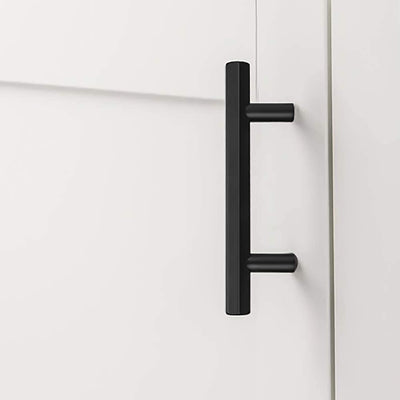 3-3/4in Black Solid Kitchen Pulls and Knobs for Dresser Cupboard (LS7058BK) - Goldenwarm