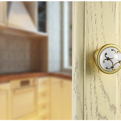 Cabinet Drawer Knobs Ceramic and Polished Brass Combination