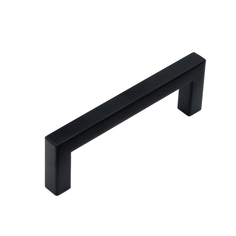 3-3/4 inch (96mm) center to center flat black square bar pull, J10BK - Goldenwarm