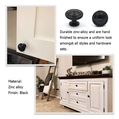 cabinet pull black knobs for kitchen, bathroom(5 pack), 8763BK