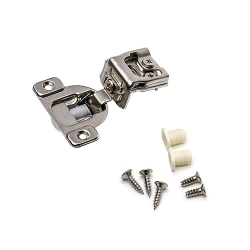 (5 pack) 1-1/4'' Overlay flush mount compact cabinet hinges nickel-plated - Goldenwarm