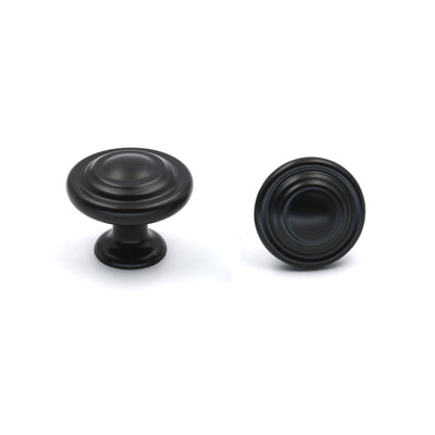 black dresser drawer knobs round modern style (LS8763BK)
