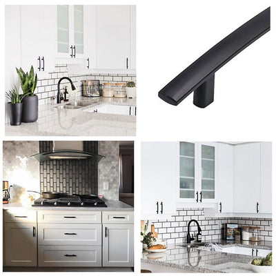 Solid Kitchen Drawer Arch Handles Matte Black(30 pack), 1003BK - Goldenwarm