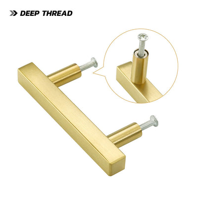 gold drawer handles 2-1/2 inches brushed brass finish(LS1212GD ) - Goldenwarm