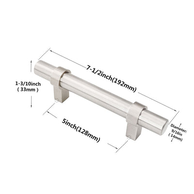 5inch kitchen cabinet hardware silver in brushed nickel