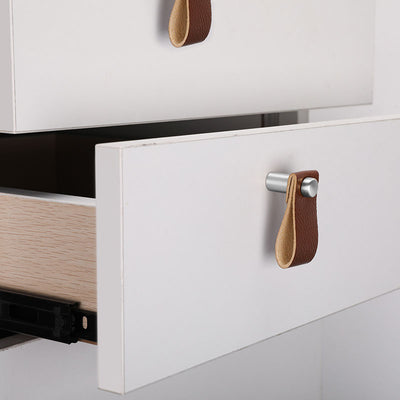 4 Pieces Leather Drawer Knobs Pull with Silver Screws for Home Office(LS9215SNB) - Goldenwarm