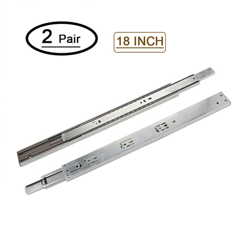 18 inch drawer slides soft close bottom mount for kitchen cabinets (2 pair)