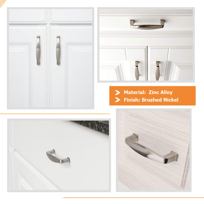 10 pack stain nickel arched pulls for modern cabinet, zinc alloy(LS8791SNB)