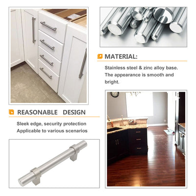 5inch kitchen cabinet hardware silver in brushed nickel - Goldenwarm