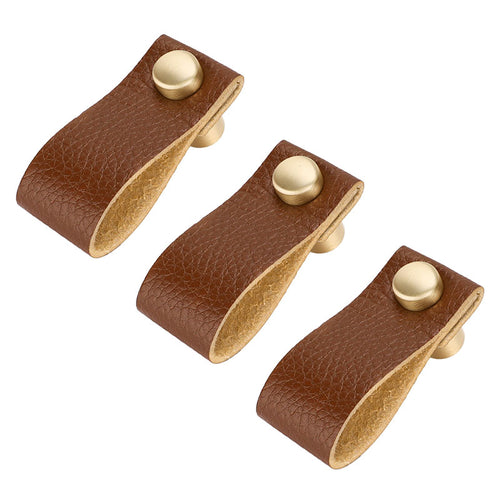 6 pieces Handmade Brown Leather  Kitchen Cabinet Handles and Knob (LS9215GD) - Goldenwarm