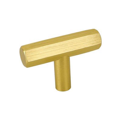 Single Hole Gold Solid T bar Pulls and Knobs for Dresser Cupboard(LS7058GD)
