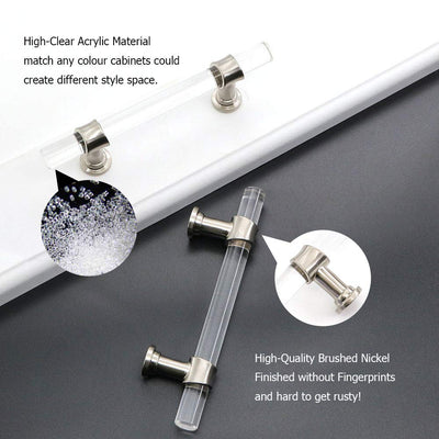 5 pack Stain Nickel Acrylic Cabinet Drawer Pulls And Knobs, Zinc Alloy