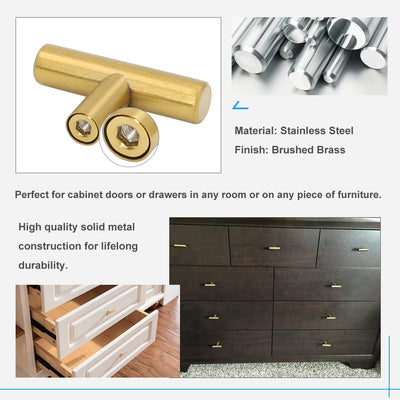 Brushed Brass Euro Style Cabinet T Bar Pull And Knob,Stainless Steel  (201GD)